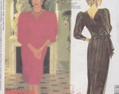 1985 Dynasty Bombshell Cocktail Dress or Evening Gown Vintage Pattern, McCalls 2213, Nolan Miller, Joan Collins, Low Back Wrap, Slim Skirt