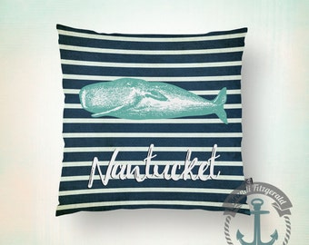 Nantucket Throw Pillow | Nautical Navy Stripes Cape Cod Beach House Decor  Product Sizes and Pricing via Dropdown Menu