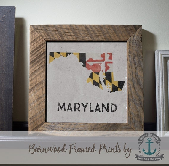 Maryland; Grungy Flag State - Framed Print in Reclaimed Barnwood Cities & Travel Decor - Handmade and Ready to Hang