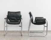 Pair of Mid Century Leather Alpha Chairs / Maurice Burke / Pozza
