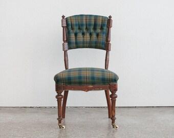 Plaid Tufted Eastlake Slipper Chair