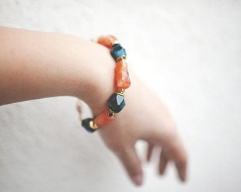 Mix and match Amber Carnelian and teal agate bracelet, Casual  Necklace or bracelet  by pardes israel