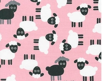 Sheep on Petal Pink from Robert Kaufman's Urban Zoologie Collection by Ann Kelle