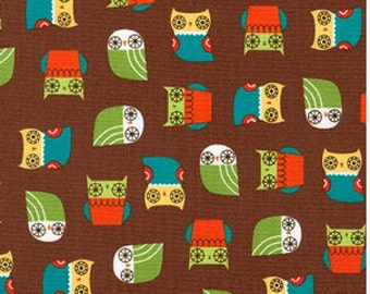 Mini Earth Owls on Brown from Robert Kaufman's Suzy's Mini by Suzy Ultman