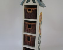 Vertical Storage, Vintage Wooden Birdhouse Basket Drawers Sunflower Floral Motif Yellow Brown Blue Green, Whimsical Storage