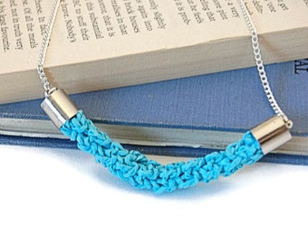 Crochet Paper Yarn Twine Tube Bright Statement Necklace - 4 Colours: Pink, Yellow, Turquoise & Cream