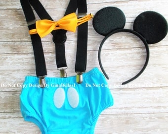 Mickey Mouse Birthday cake smash outfit FREE EARS black suspenders baby blue diaper cover bow tie optional hat photo prop 12 18 24 toddler
