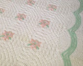"""SALE ~ Vintage Chenille Bedspread ~ Fluffy Soft White with Floral, Mint Green - Full/Queen 87"""" X 97"""""""