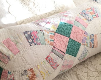 "Vintage Wedding Ring Quilt Bolster / Fearher Pillow 26"" x 14"" - 30s -40's Fabrics, Paired with Vintage Matelasse"