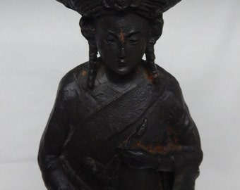 Vintage Chinese Empress Woman Metal Statue Sculpture Home Decor Asian Collectibles