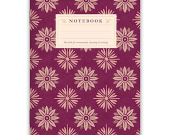 Notebook Stapled A5 Lilac Pattern