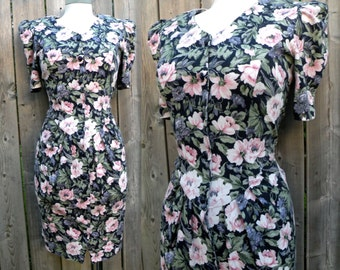 80s Cotton Jersy Floral Button Up Wiggle Dress - M