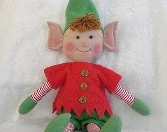 CHRISTMAS ELF Doll Decoration  green hat and mittens