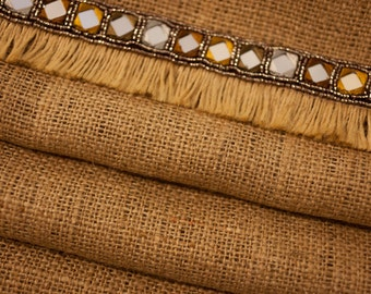 One of a Kind Burlap Table Runner w/ Embroidered Beaded Mirror Fringe Trim