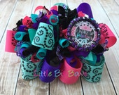 I Wake Up Fabulous Funky Loopy Bow with Bling Bottle Cap Embellishment