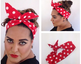 Buy 3 get 1 free!  Rockabilly Reversible, Rosie the Riveter, Medium Hair Wrap  with Wire - Bandana, 1950s  Vintage Pinup Style Hair Tie