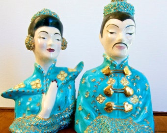Asian ceramic hand painted man and woman figurines Chinoiserie