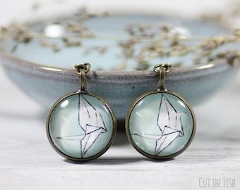 Turquoise Earrings - Handmade Earrings - Blue Earrings - Earrings - Crane Earrings - Origami Earrings - Art Jewelry (14-2E)