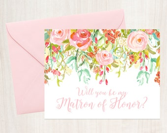 Will You Be My Matron of Honor Card - A2 Note Card - Instant Download - Tented Card - Rosewater Drop - JPG and PDF Files