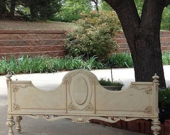 Ornate Footboard We will Repurpose as FIREPLACE Screen Shabby Chic Wall Decor Hanging Headboard Wall Header Coat Rack