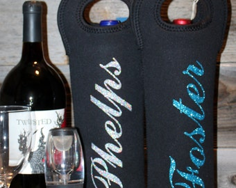 Personalized wine tote, spirit bag, wine bag, insulated wine bag, perfect for weddings, house warming, bridal shower or attendant gift.