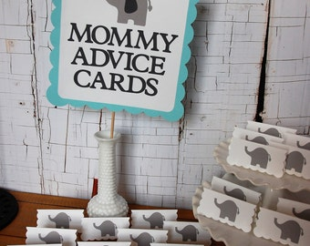 Elephant Baby Shower, 24 Mommy Advice Cards and Buffet Sign, Aqua