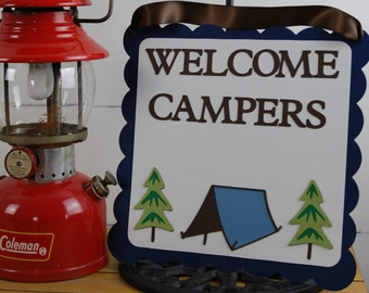 Welcome Campers Door Sign, Camping, Outdoors, Lumberjack Party, Camping Birthday, Campout Party