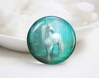 Handmade Round Unicorn Photo Glass Cabochons (P3557)