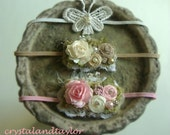 Set of Three Headbands in Ivory, White, and Light Pink, Baby Girl Flower Headbands, Baby Props, Flower Headband