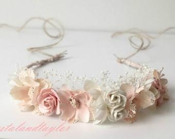 Pale Pink and Ivory Halo, Flower Halo, Pink Headband, Flower Girl Halo, Baby Tieback, Newborn Headband, Pale Pink Tiara, Girl Tiara