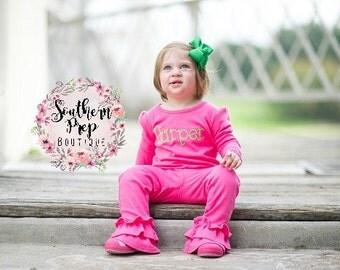 Girl's Ruffle Pants - PINK Ruffle pants - girl's holiday pants - Christmas outfit - fall icings - Girl's pants