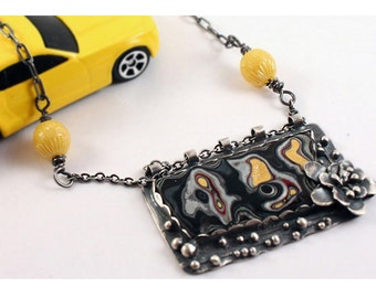 Sterling Silver Fordite Pendant with Yellow Melon Beads