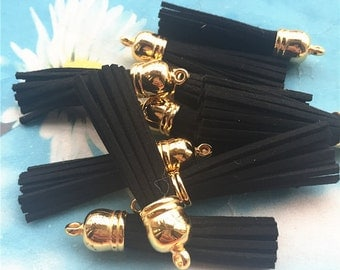 100pcs 60mm Gold cap Black suede leather tassel pendant charms findings