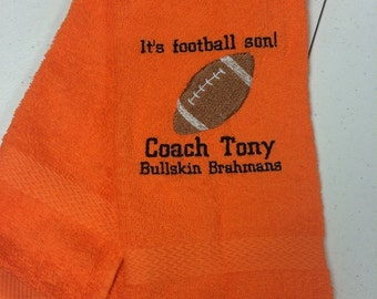 Football, personalized, football towel, sport towel, boys, boy gift, man cave, message for team discount