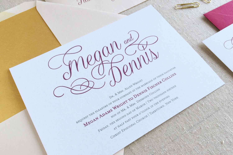 Elegant Wedding Invitation Calligraphy Invitation Suite Gold