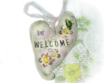 welcome wall Heart, Wall Decor Heart, Ceramic Heart, unique heart,  pottery heart,  decorative ceramic,   # 109