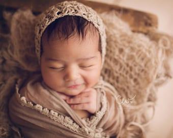 Baby Bonnet - 'NATURAL' - limited-edition bonnet- newborn baby bonnet - photography prop - knitbysarah - stitches by sarah