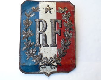 Vintage French Metal Sign French Flag Holder Antique Metal Shield Plaque French Wall Decor French Flag