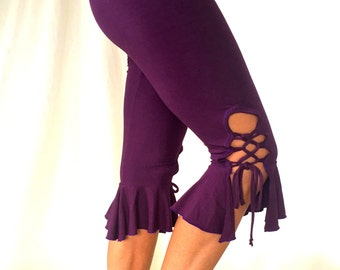 Lace tie yoga capri organic dance pants