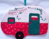 Vintage Happy Camper Mug Rug - Raspberry Teal