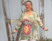 Tunic Style Shirt with Long Sleeves, Ice-dyed, Flower Motif, Size L