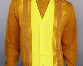 Vintage 1960's SEARS Sportswear ULtRa MOD Atomic Knit Shirt & Cardigan Sweater Set