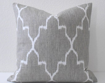 Double sided,  Modern grey moroccan ikat decorative pillow cover, accent pillow, throw pillow