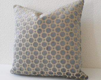 Velvet gray geometric decorative pillow cover