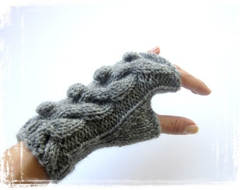 arm warmers with bobbles and cables wrist warmers hand knitted mittens fingerless gloves grey cabled merino wool customisable