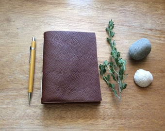 Thick Brown Leather Journal-Handmade-Gift Idea-Travel Journal-Sketchbook