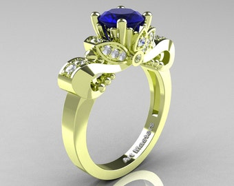 Classic 18K Green Gold 1.0 Ct Blue Sapphire Diamond Solitaire Engagement Ring R323-18KGGDBS