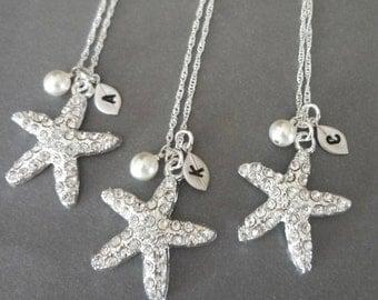 Crystal starfish necklace , Swarovski, Personalized , Hand stamped , Initial Destination wedding jewelry, Beach wedding jewelry,  STARFISH