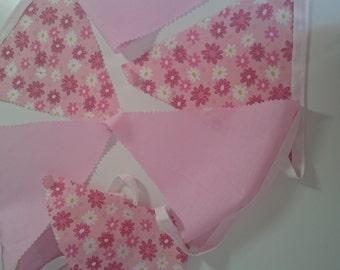 Pink flower bunting