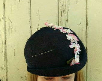 Vintage Navy Floral Spring Hat With Pink Flowers + Hat Pin - Antique Easter Bonnet, 1950's Dark Blue Fabric Church Hat, Collecting Hats